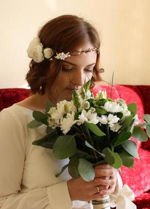 Свадебное украшение веночек пионовидные розы