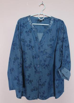 Джинсовая хлопковая синяя в цветочки блузка, блуза. блузон, рубашка, рубашечка батал 56-58 р.