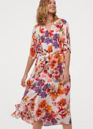 H&m цветочное платье кафтан миди цветочный принт цветы