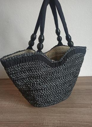 Летняя плетеная сумка соломенная