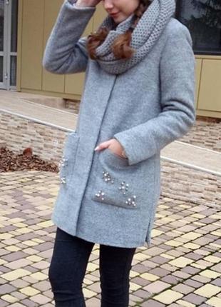 Стильне сіре пальто холодна осінь/весна/тепла зима