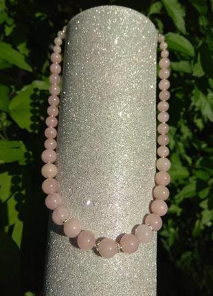 Ожерелье (бусы) из натурального камня розовый кварц и серебра 925 пробы