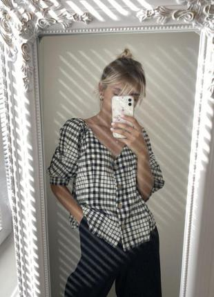 Блузка блуза primark в клетку с объемными рукавами