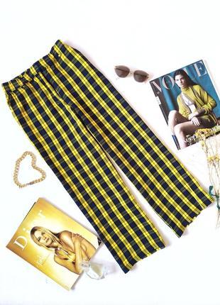 Прямые брюки штаны в клетку желтые с синим укороченные envii