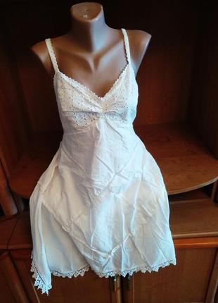 Новый брендовый шикарный сарафан платье натуральный батист хлопок кружево, l xl xxl