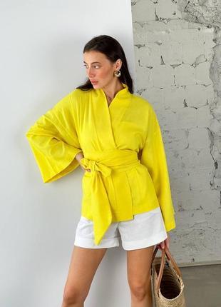 Пиджак кимоно льняное укороченное женское