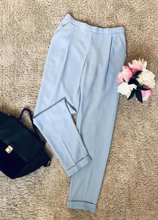 Голубые брюки летние штаны с высокой посадкой летние завышенные брюки с карманами
