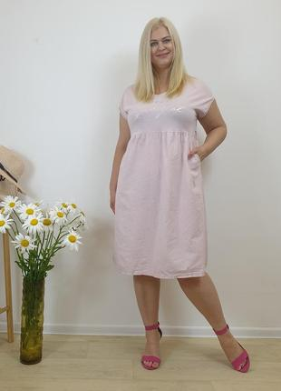 Женское розовое платье с поясом и карманами из натурального льна
