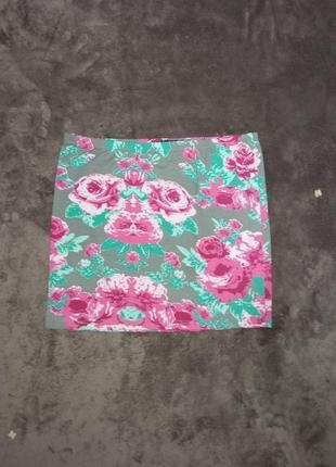 Яркая стрейчевая котоновая юбка