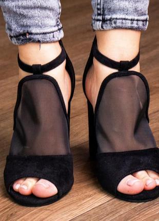 Туфли босоножки черные замшевые женские на каблуке -черные женские туфли 2021