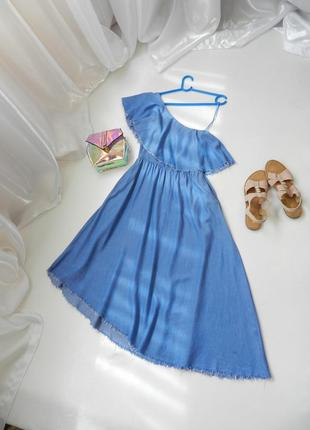 ✅ шикарное платье ассиметрия из 100% натуральной ткани штапель под джинс