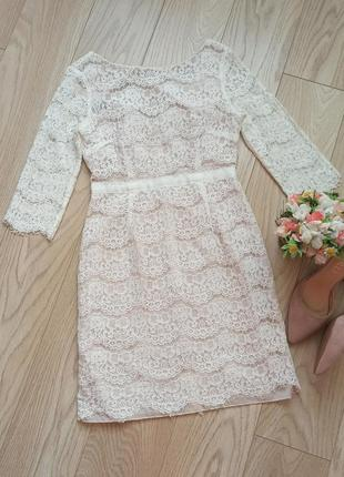 Красивое молочное гипюровое платье, р.s