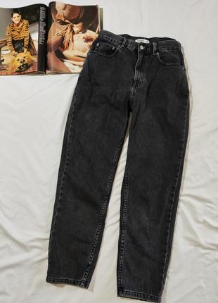 Pull&bear  mom классные графитовые джинсы c высокой посадкой eur 38