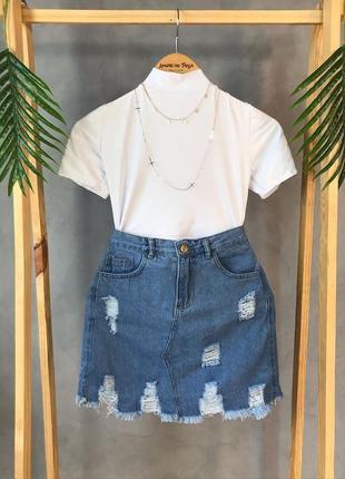 🦋стильна джинсова спідниця джинсовая юбка