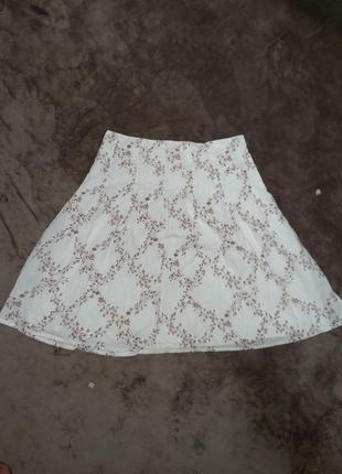Белая летняя котоновая юбка