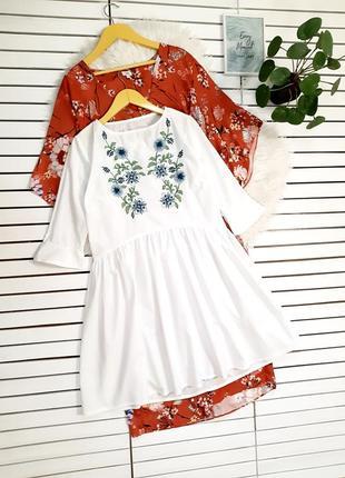 Белое платье с вышивкой p. xs-s1 фото