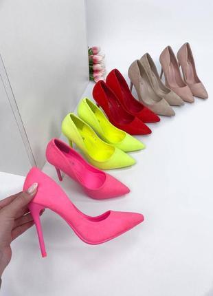 Туфли лодочки в стильных цветах: бежевый, пудра, фуксия, неон, красный