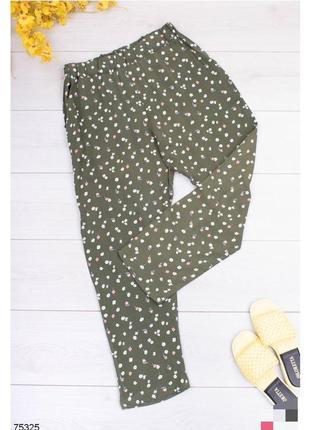 Брюки женские штаны штани с высокой посадкой завышенной талией на резинке зелені зелёные зеленые в цветочный принт