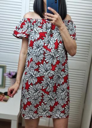 Платье красное на плечи в цветочный принт primark