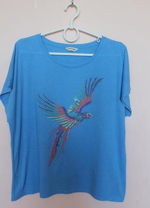 Светло синяя полунатуральная футболка, футболочка 50-52 р.