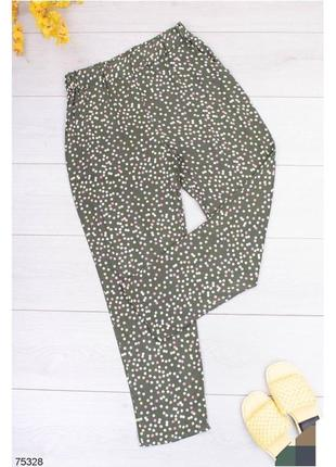Брюки женские штаны штани с высокой посадкой завышенной талией на резинке зелёные зеленые зелені білі в белый горошек горох принт