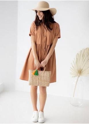 Легкое льняное платье-рубашка, сарафан, жіноча сукня