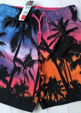 Primark шорты плавки мальчику 128-134 см пальмы летние шорты для купания