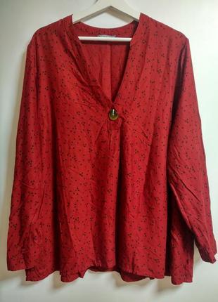 Натуральная трендовая блуза в горох 20/54-56 размера