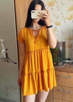 H&m платье желтое оранжевое в наличии новое м л 10 размер