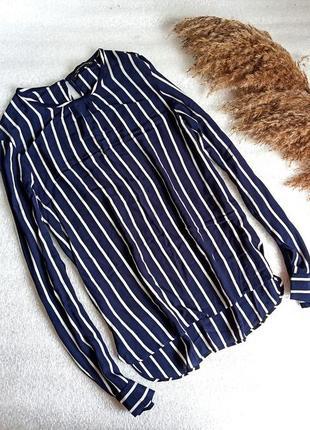 ✨ легесенька подовжена , натуральна  повітряна блуза в смужку , віскоза zara  ✨
