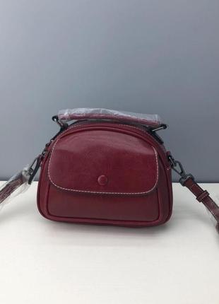 Кожаная женская маленькая сумочка на плечо красная коричневая белая бежевая