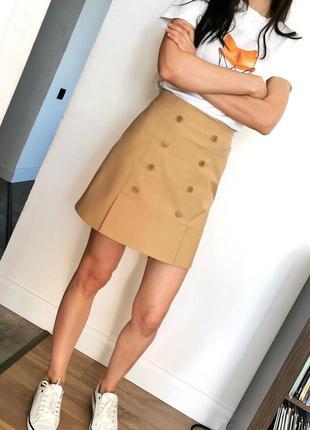 Бежевая юбка на пуговицах  итальянский коттон