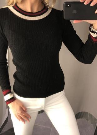 Свитер в рубчик с люрексом облегающий свитерок джемпер. amisu. размер xs.