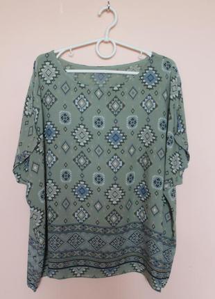 Воздушная хлопковая оливковая блузка, блуза, блузон, футболка италия батал 56-58 р.