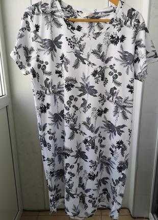 Домашнее платье /ночная m&s, хлопок, uk 14