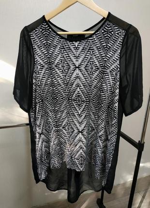 Комбинированная блуза с удлиненной спинкой черная george