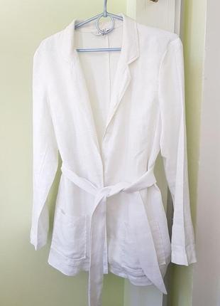 Женский шикарный лляной пиджак пояском білий піджак пиджак блейзер жакет