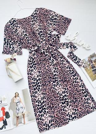 Нарядное платье в леопардовый принт открытая спинка под пояс