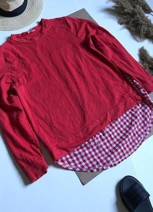 Модный красный свитшот спинка в клетку р.xl