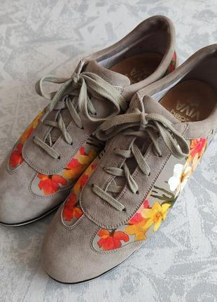Кожаные туфли кроссовки замшевые - ортопедическая стелька pedag viva немецкое качество