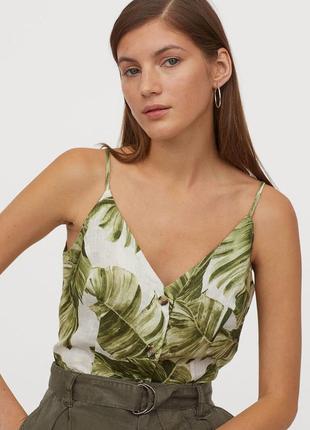 Льняной топ в принт пальмовые листья