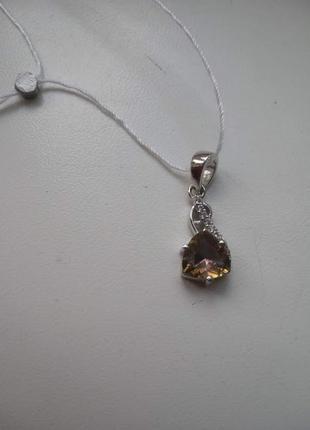 Серебряная подвеска кулон с натуральным желтым мистическим топазом и белыми топазами