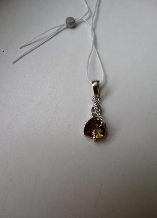 Серебряная подвеска кулон с натуральным желтым мистическим топазом и белыми топазами5 фото