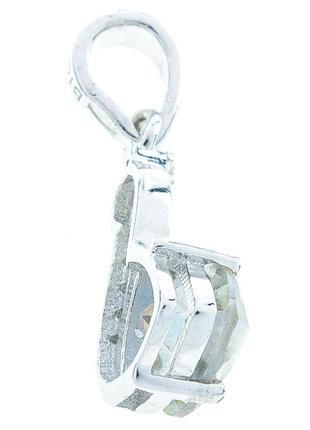 Серебряная подвеска кулон с натуральным желтым мистическим топазом и белыми топазами3 фото