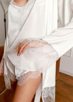 Шелковый набор комплект утро невесты свадьба халат с кружевом майка шорты