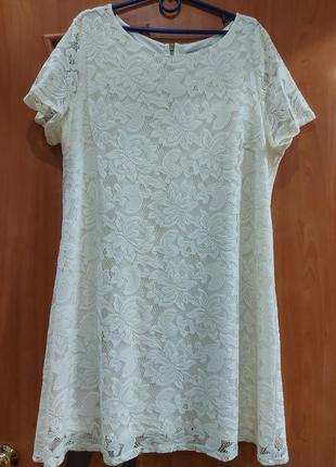 Нежное/очень красивое/ нарядное платье wallis р. 48-50-52 (xl) гипюр/кружево/на подкладке/молочный