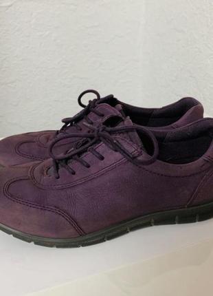 Кожаные кроссовки ecco, фиолетовые полуботинки, кеды экко, размер 36