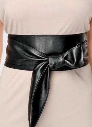 Женский пояс кушак из натуральной кожи широкий черный