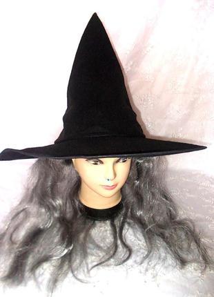 Маскарадная шляпа волшебницы с седыми волосами - 45см