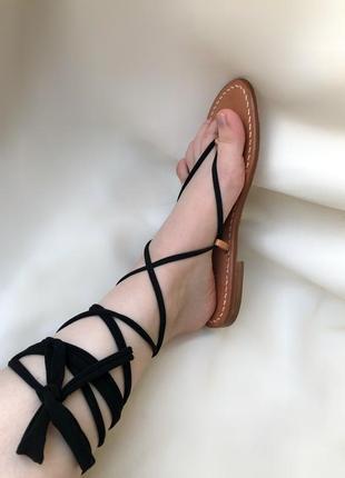 Кожаные сандали на завязках lavorazione artigianale